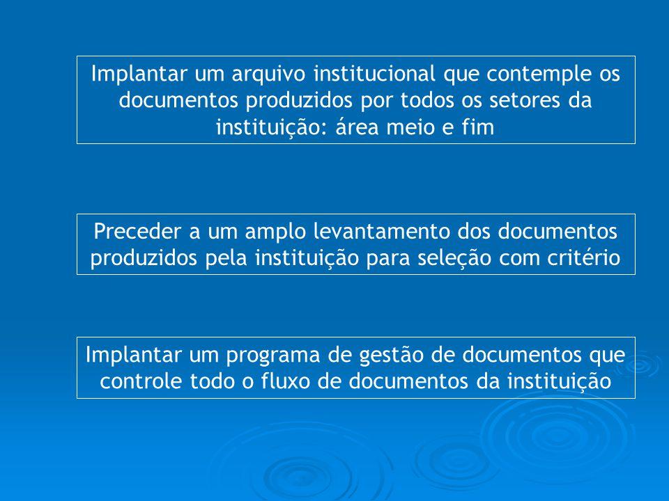 Implantar um arquivo institucional que contemple os documentos produzidos por todos os setores da instituição: área meio e fim