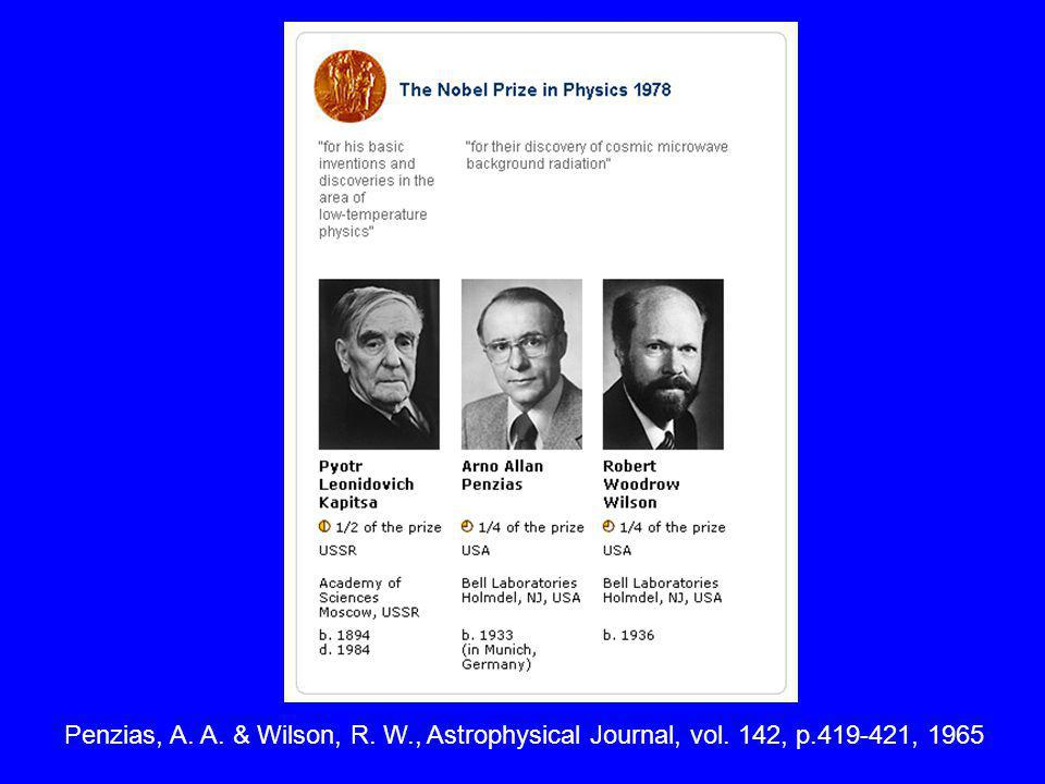 Penzias, A. A. & Wilson, R. W. , Astrophysical Journal, vol. 142, p
