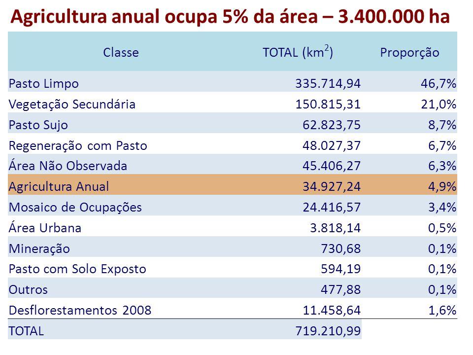 Agricultura anual ocupa 5% da área – 3.400.000 ha