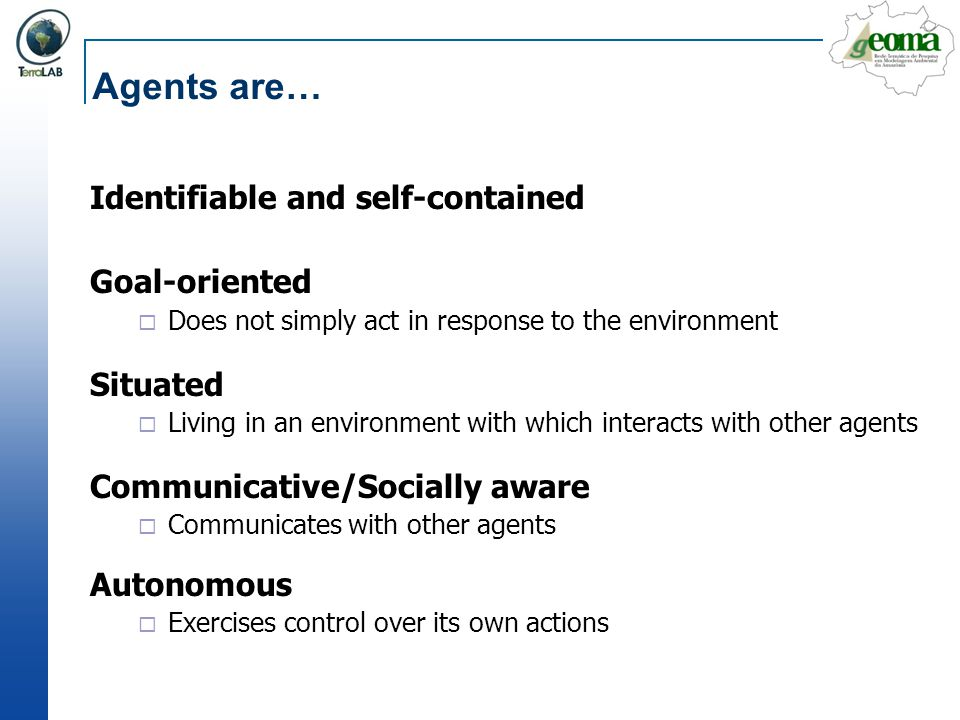 Agents are… Identifiable and self-contained Goal-oriented Situated