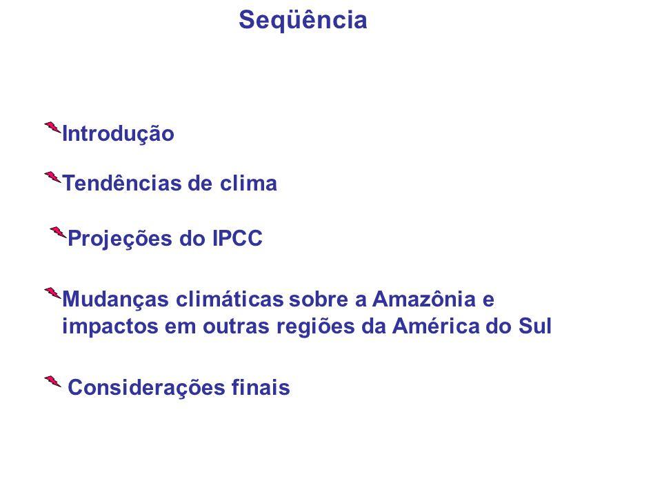Seqüência Introdução Tendências de clima Projeções do IPCC