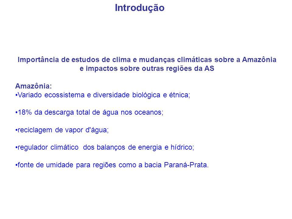 Introdução Importância de estudos de clima e mudanças climáticas sobre a Amazônia e impactos sobre outras regiões da AS.
