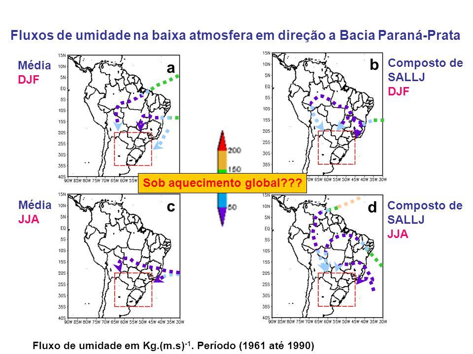 Fluxos de umidade na baixa atmosfera em direção a Bacia Paraná-Prata