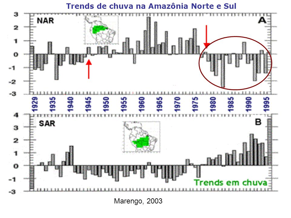 Trends de chuva na Amazônia Norte e Sul