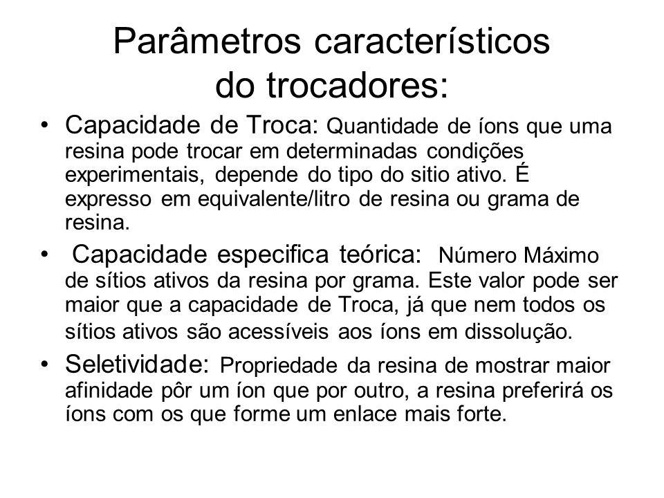 Parâmetros característicos do trocadores: