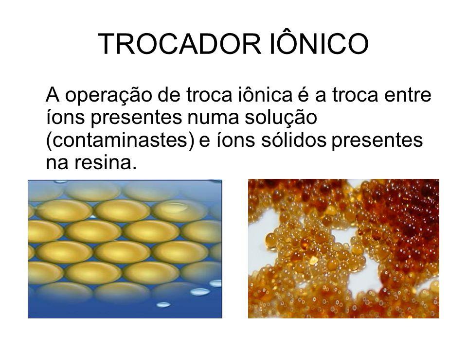 TROCADOR IÔNICO A operação de troca iônica é a troca entre íons presentes numa solução (contaminastes) e íons sólidos presentes na resina.