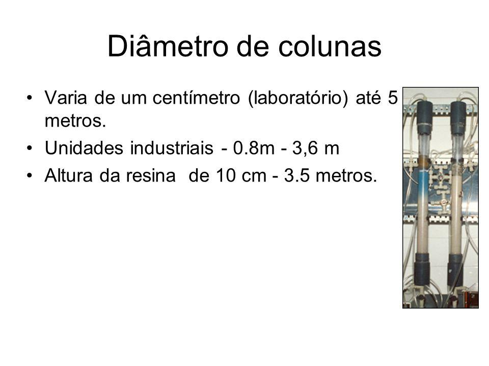 Diâmetro de colunas Varia de um centímetro (laboratório) até 5 metros.