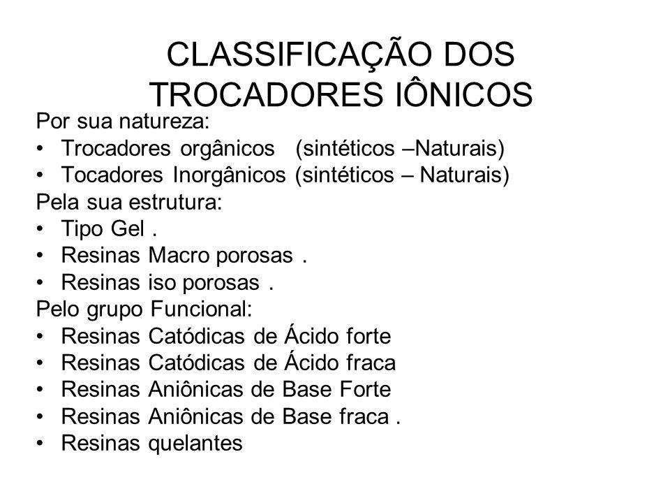 CLASSIFICAÇÃO DOS TROCADORES IÔNICOS