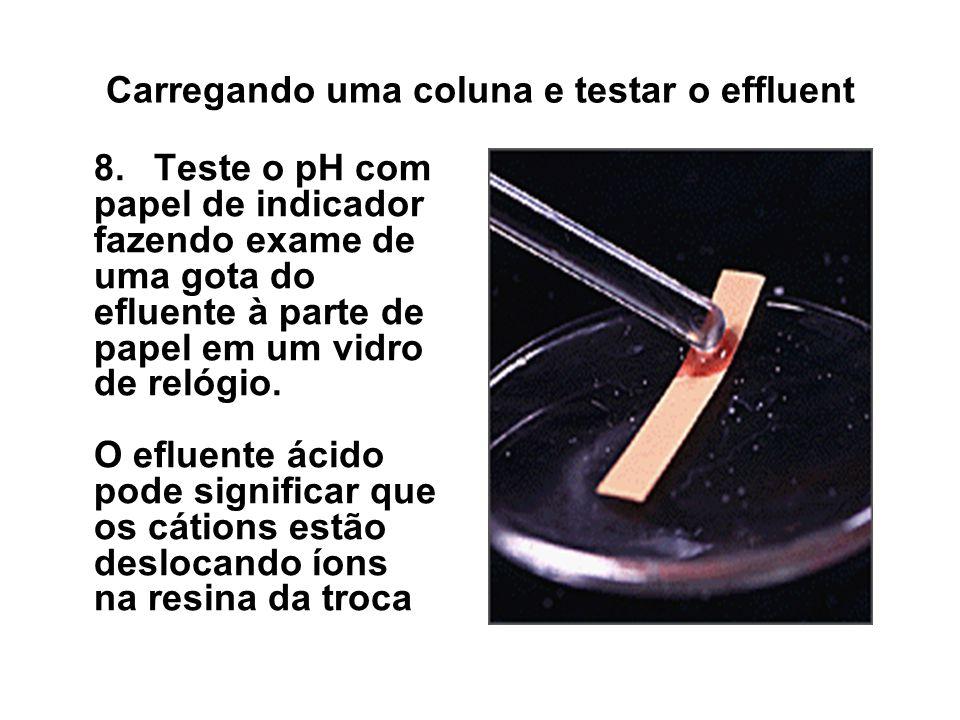 Carregando uma coluna e testar o effluent