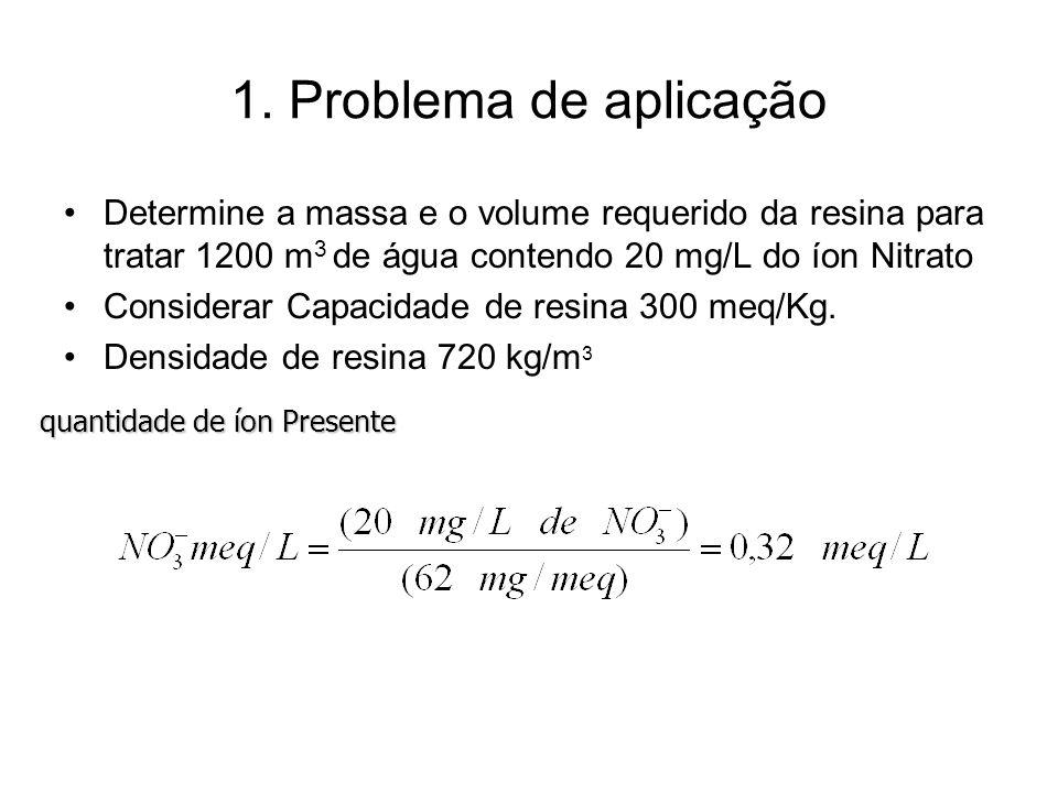 1. Problema de aplicação Determine a massa e o volume requerido da resina para tratar 1200 m3 de água contendo 20 mg/L do íon Nitrato.