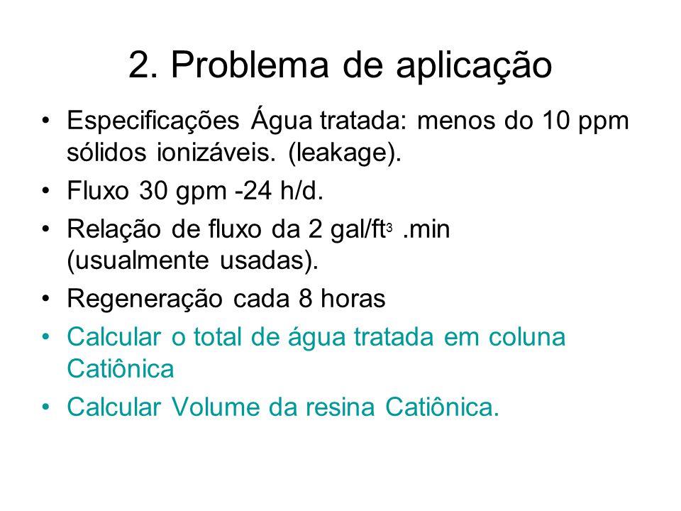 2. Problema de aplicação Especificações Água tratada: menos do 10 ppm sólidos ionizáveis. (leakage).