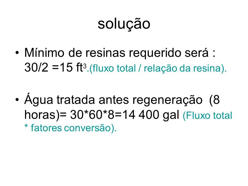 solução Mínimo de resinas requerido será : 30/2 =15 ft3.(fluxo total / relação da resina).