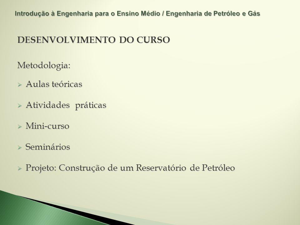 DESENVOLVIMENTO DO CURSO Metodologia: Aulas teóricas