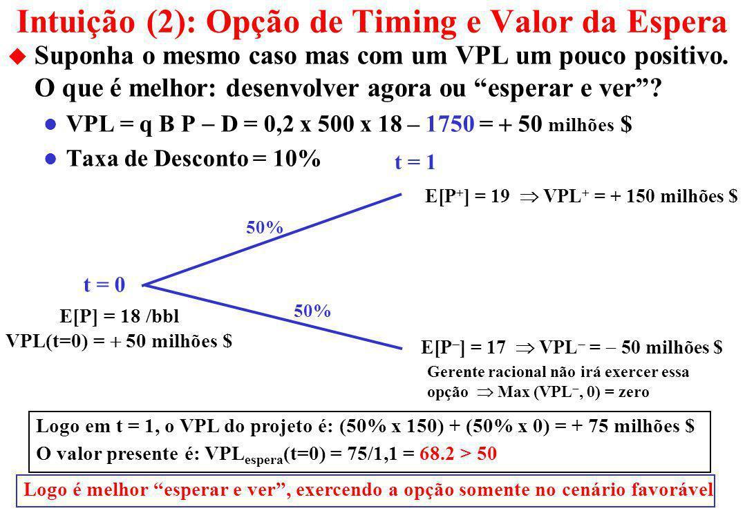 Intuição (2): Opção de Timing e Valor da Espera