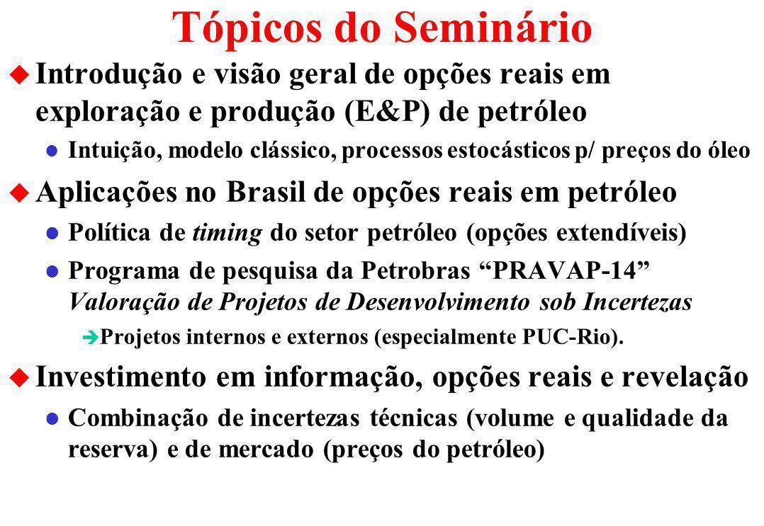 Tópicos do Seminário Introdução e visão geral de opções reais em exploração e produção (E&P) de petróleo.