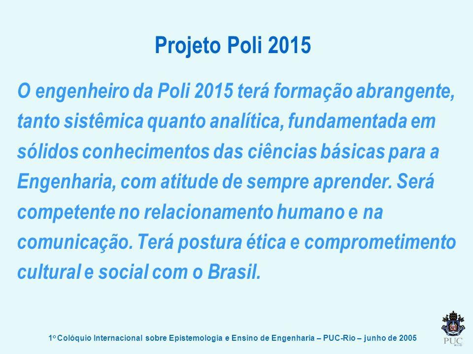 Projeto Poli 2015 O engenheiro da Poli 2015 terá formação abrangente,