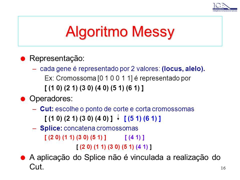 Algoritmo Messy Representação: Operadores: