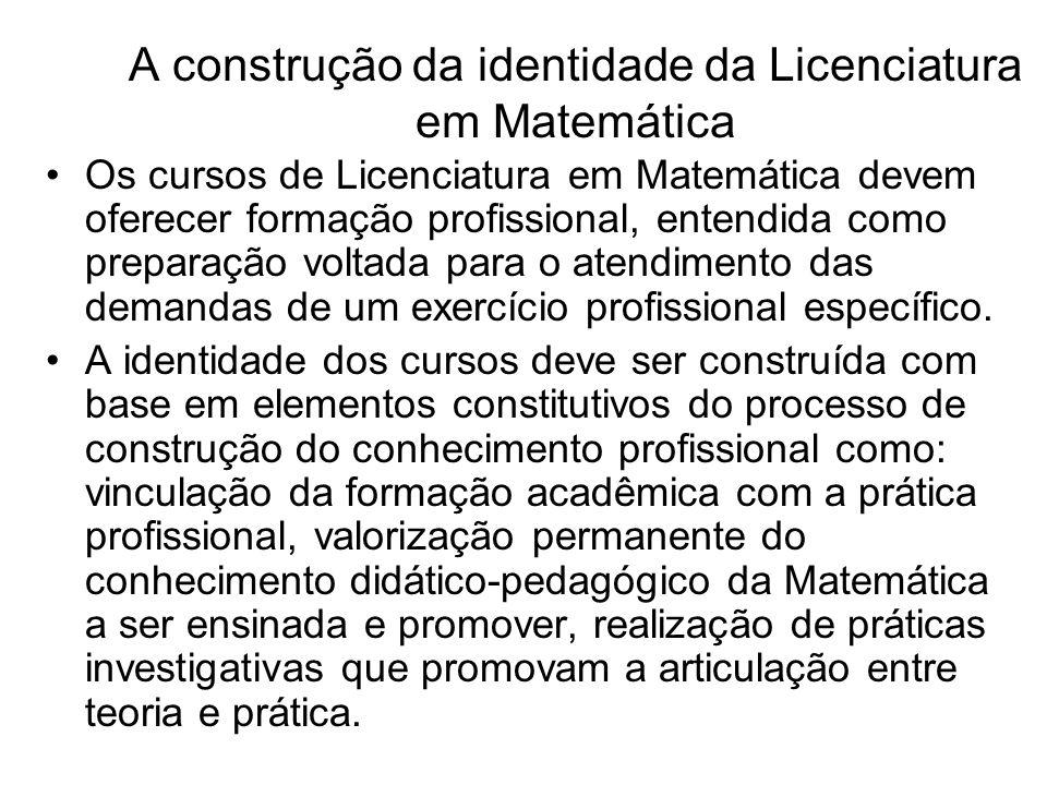 A construção da identidade da Licenciatura em Matemática