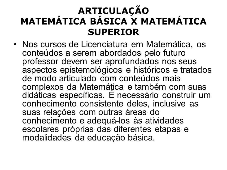 ARTICULAÇÃO MATEMÁTICA BÁSICA X MATEMÁTICA SUPERIOR