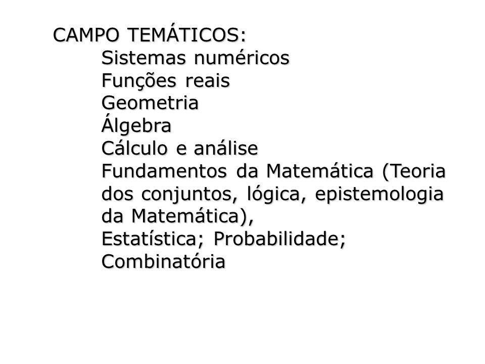 CAMPO TEMÁTICOS: Sistemas numéricos. Funções reais. Geometria. Álgebra. Cálculo e análise.