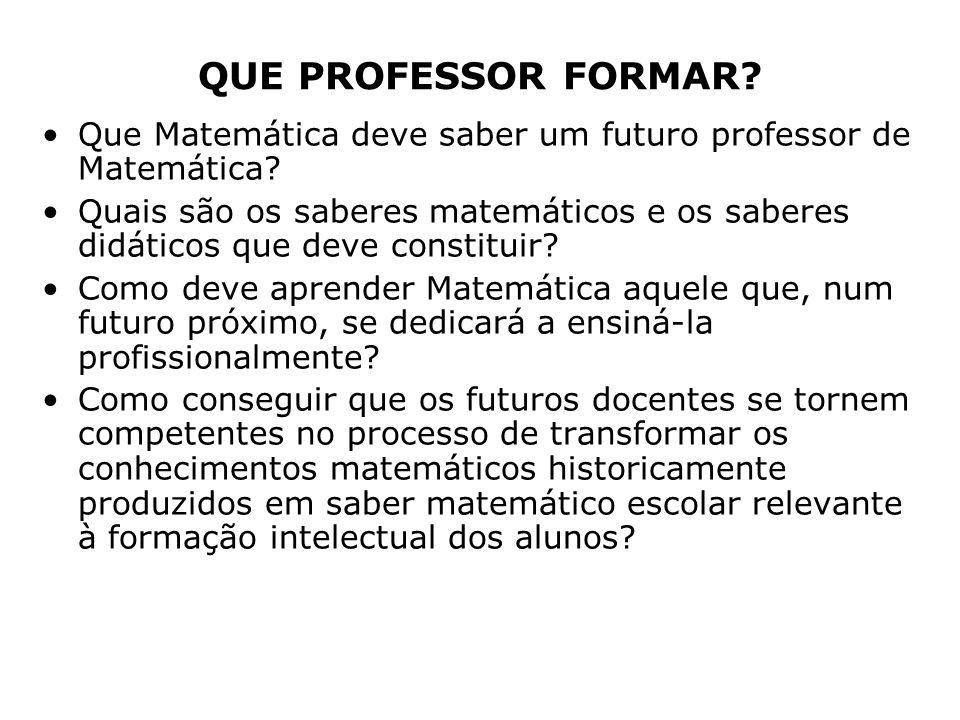 QUE PROFESSOR FORMAR Que Matemática deve saber um futuro professor de Matemática