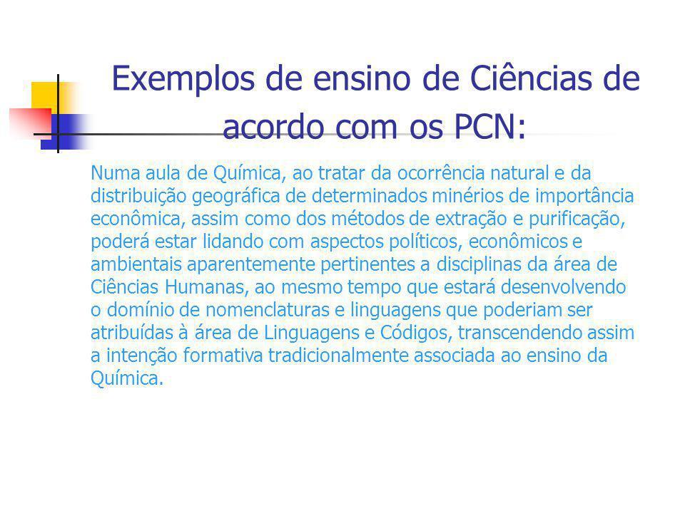 Exemplos de ensino de Ciências de acordo com os PCN: