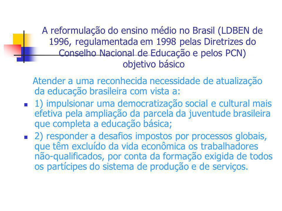 A reformulação do ensino médio no Brasil (LDBEN de 1996, regulamentada em 1998 pelas Diretrizes do Conselho Nacional de Educação e pelos PCN) objetivo básico