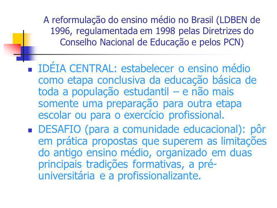A reformulação do ensino médio no Brasil (LDBEN de 1996, regulamentada em 1998 pelas Diretrizes do Conselho Nacional de Educação e pelos PCN)