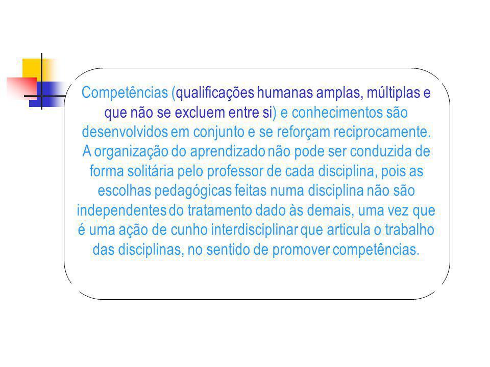 Competências (qualificações humanas amplas, múltiplas e que não se excluem entre si) e conhecimentos são desenvolvidos em conjunto e se reforçam reciprocamente.