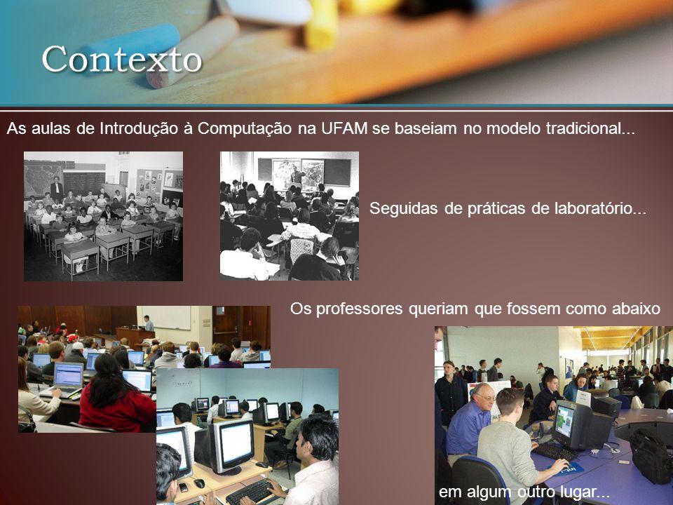 Contexto As aulas de Introdução à Computação na UFAM se baseiam no modelo tradicional... Seguidas de práticas de laboratório...