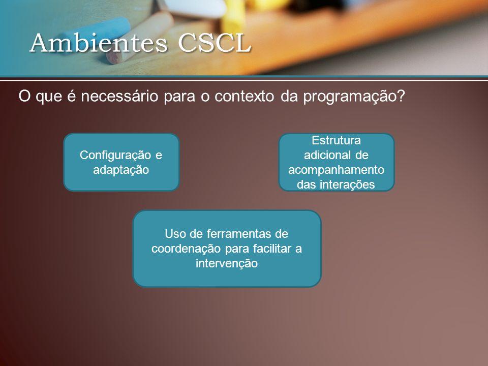 Ambientes CSCL O que é necessário para o contexto da programação