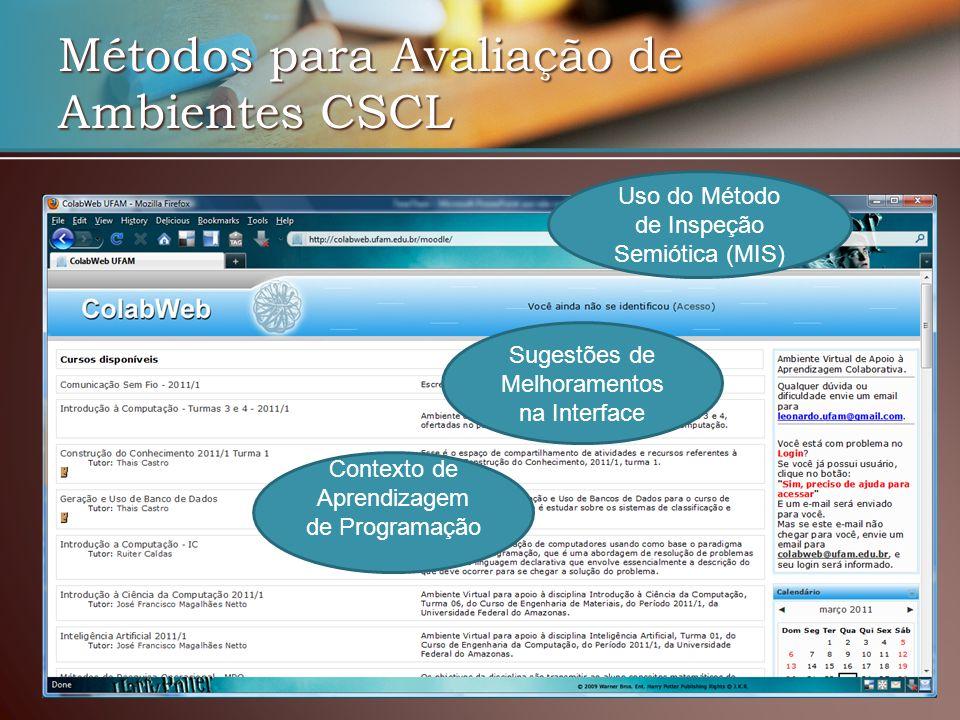 Métodos para Avaliação de Ambientes CSCL