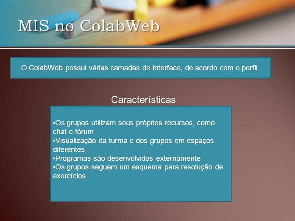 O ColabWeb possui várias camadas de interface, de acordo com o perfil.
