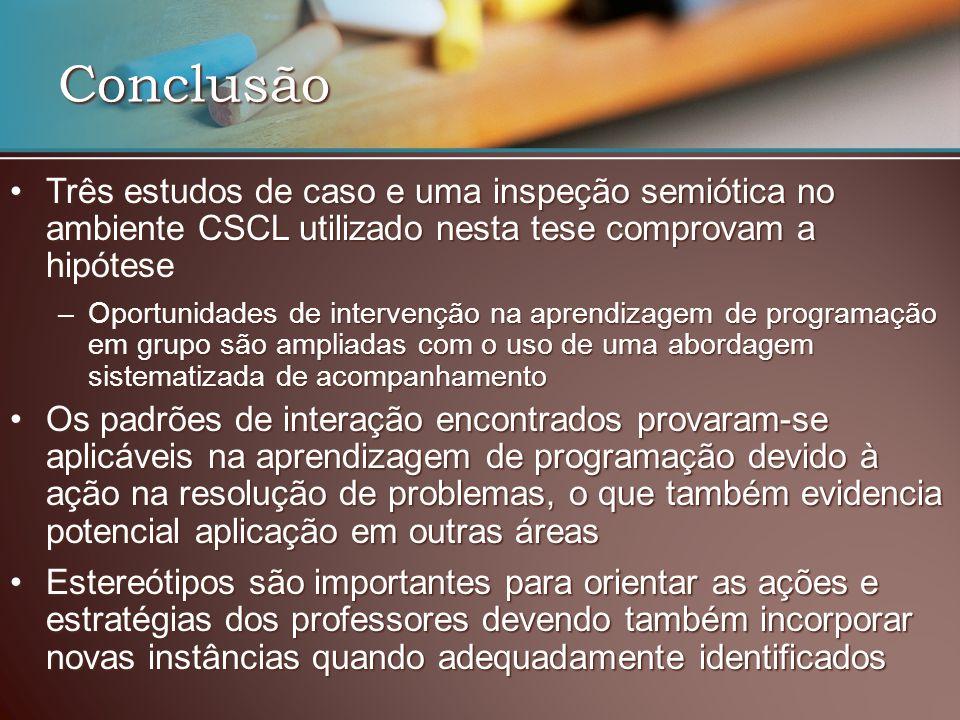 Conclusão Três estudos de caso e uma inspeção semiótica no ambiente CSCL utilizado nesta tese comprovam a hipótese.
