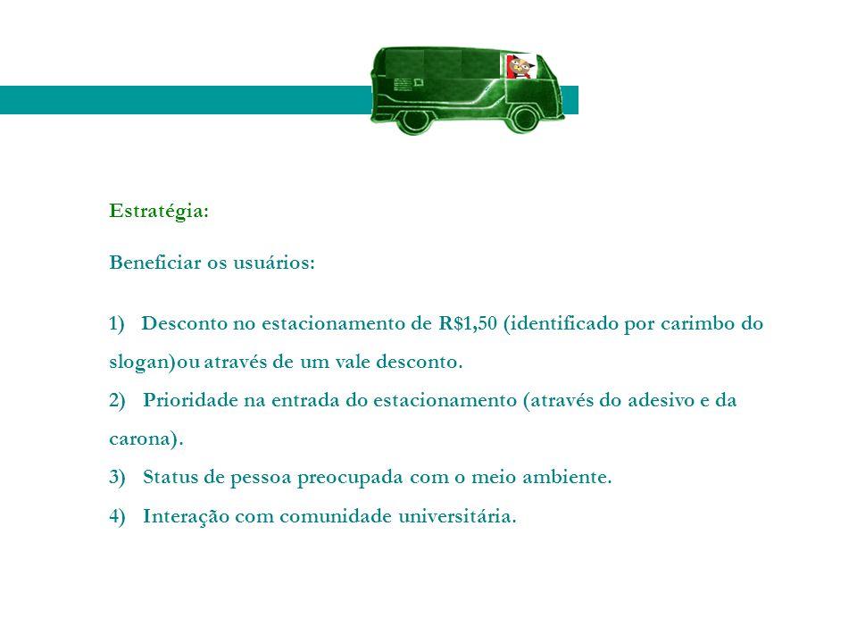 Estratégia: Beneficiar os usuários: 1) Desconto no estacionamento de R$1,50 (identificado por carimbo do slogan)ou através de um vale desconto.