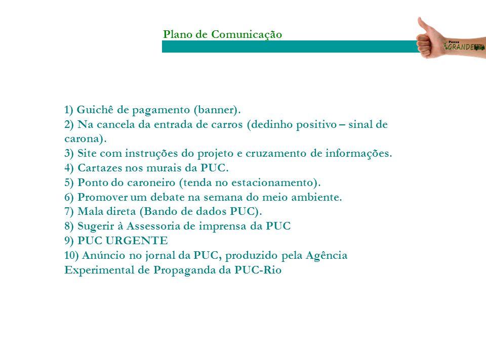 Plano de Comunicação 1) Guichê de pagamento (banner). 2) Na cancela da entrada de carros (dedinho positivo – sinal de carona).