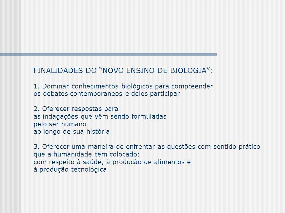 FINALIDADES DO NOVO ENSINO DE BIOLOGIA : 1