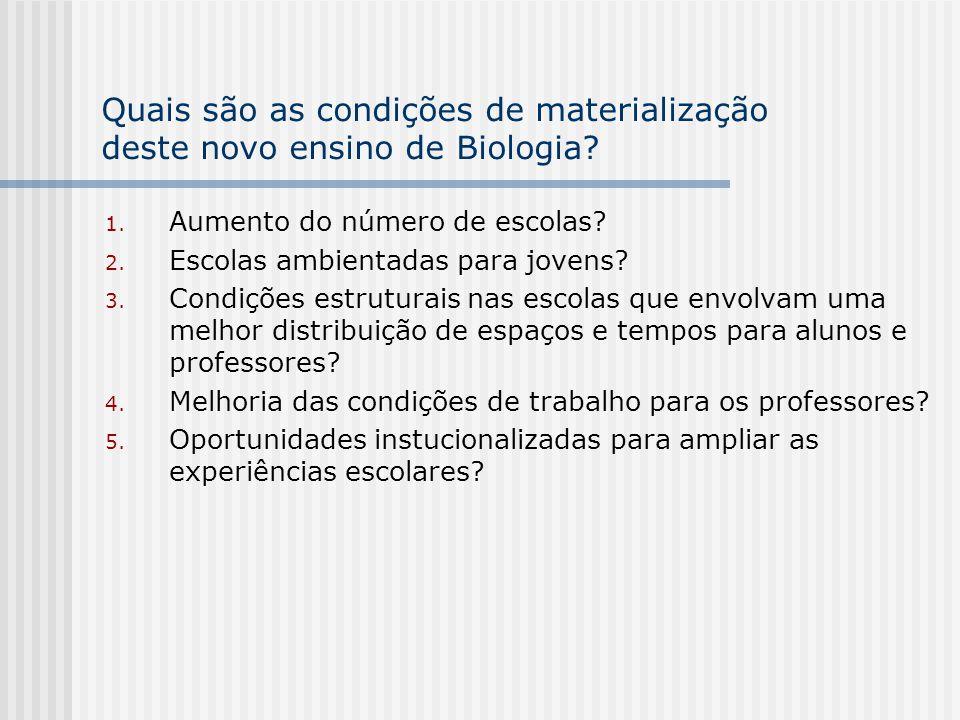 Quais são as condições de materialização deste novo ensino de Biologia