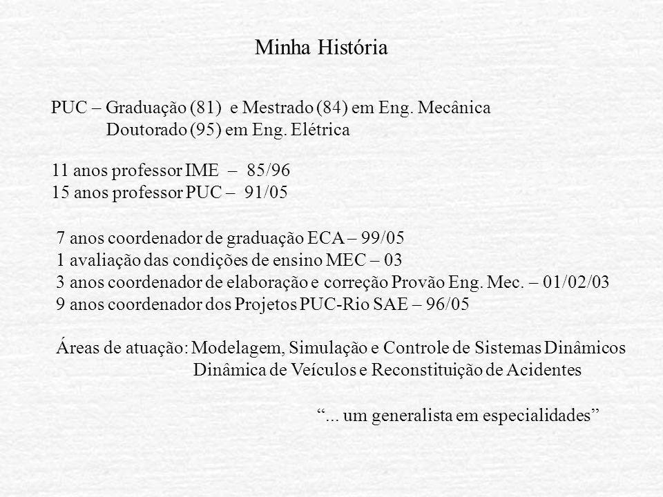 Minha História PUC – Graduação (81) e Mestrado (84) em Eng. Mecânica