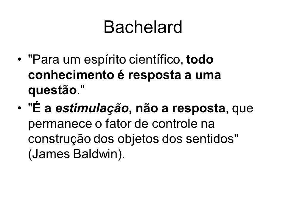 Bachelard Para um espírito científico, todo conhecimento é resposta a uma questão.