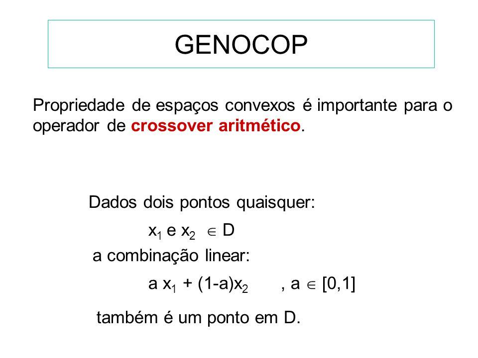 GENOCOP Propriedade de espaços convexos é importante para o operador de crossover aritmético. Dados dois pontos quaisquer: