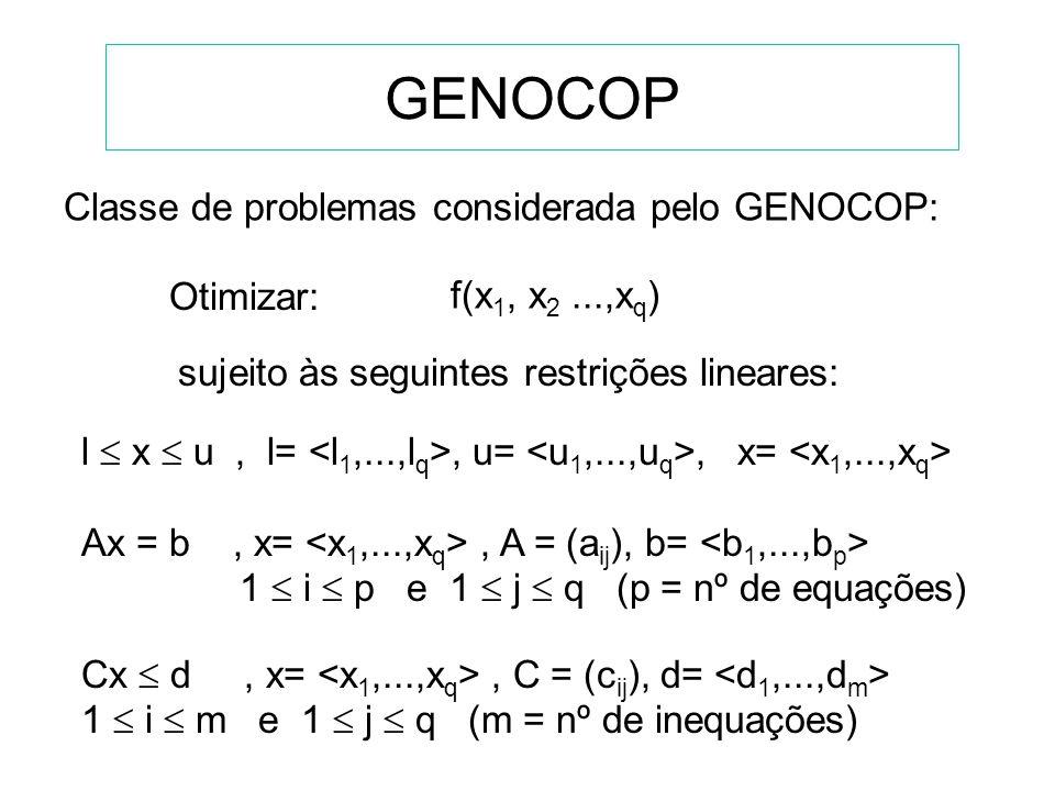 GENOCOP Classe de problemas considerada pelo GENOCOP: Otimizar: