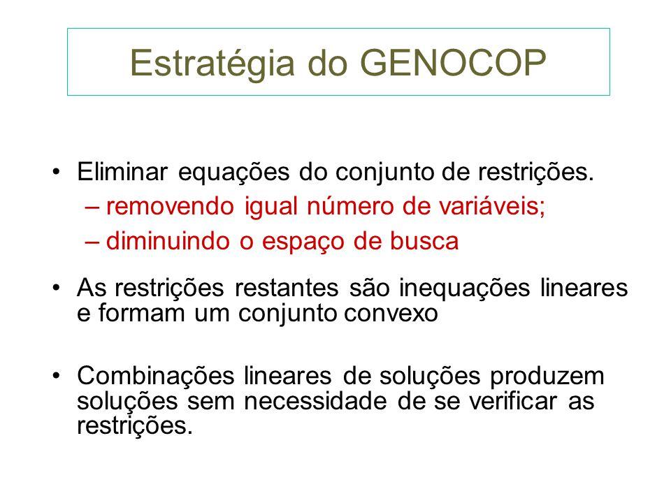 Estratégia do GENOCOP Eliminar equações do conjunto de restrições.