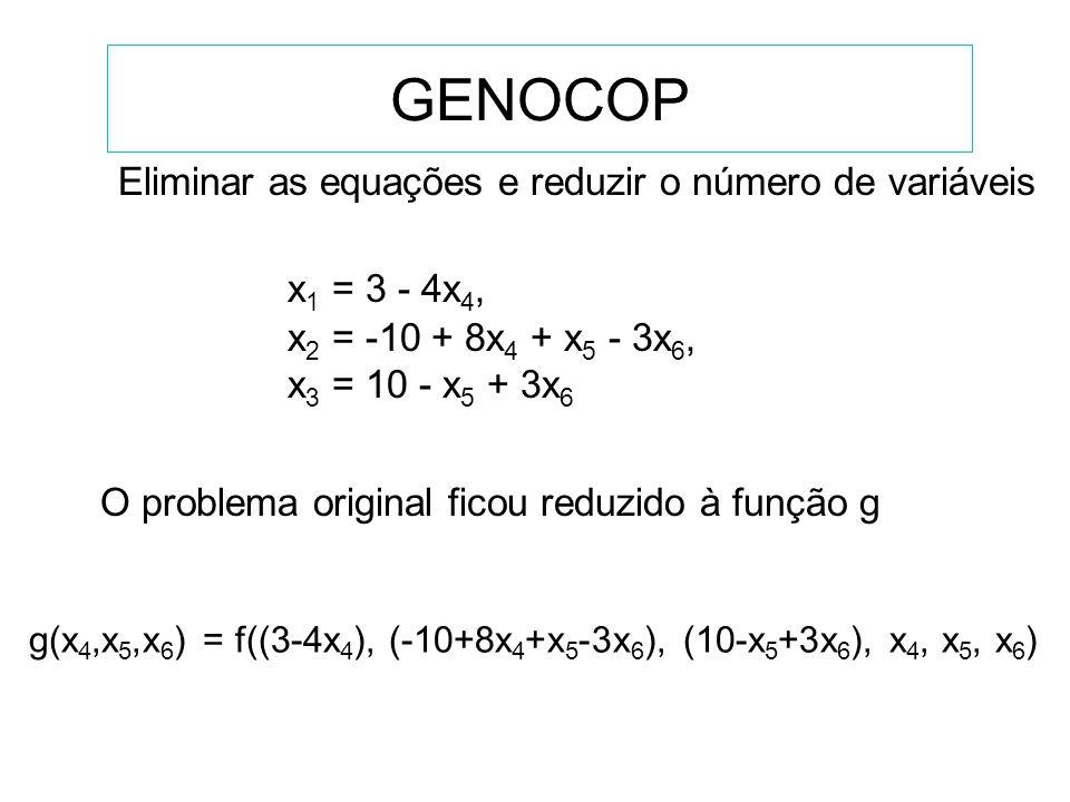 GENOCOP Eliminar as equações e reduzir o número de variáveis
