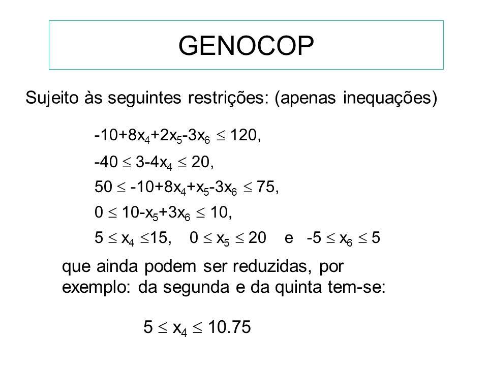 GENOCOP Sujeito às seguintes restrições: (apenas inequações)