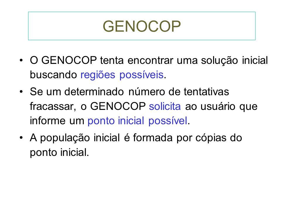 GENOCOP O GENOCOP tenta encontrar uma solução inicial buscando regiões possíveis.