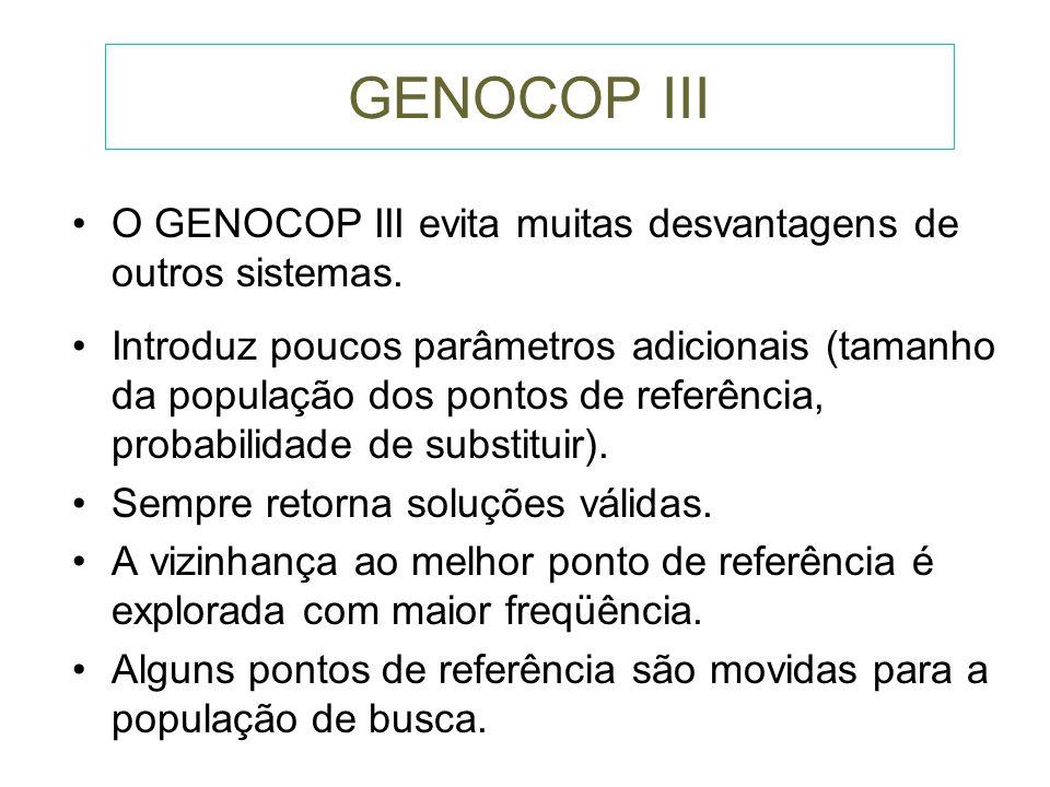 GENOCOP III O GENOCOP III evita muitas desvantagens de outros sistemas.