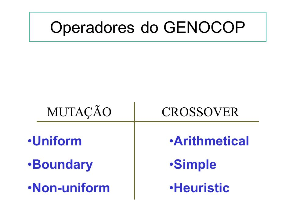 Operadores do GENOCOP MUTAÇÃO CROSSOVER Uniform Boundary Non-uniform