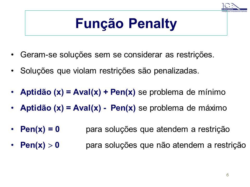 Função Penalty Geram-se soluções sem se considerar as restrições.