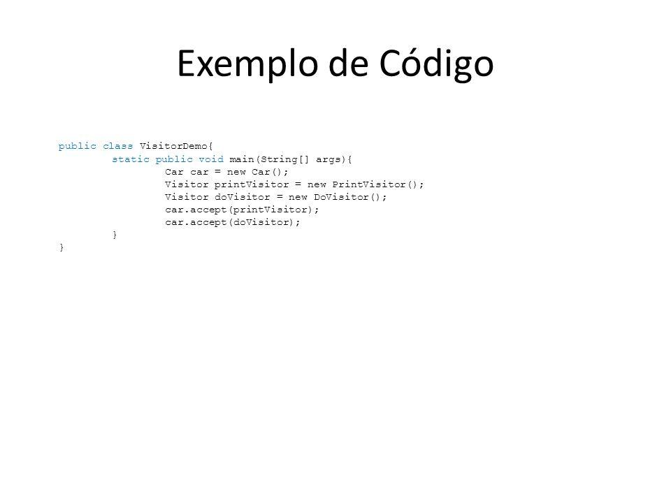 Exemplo de Código public class VisitorDemo{